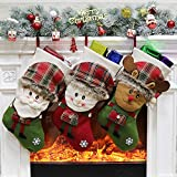 Anself 3pcs/Set Non-Woven Christmas Hanging Stockings Santa Snowman Reindeer Gift Candy Bags Christmas Decorations Ornaments