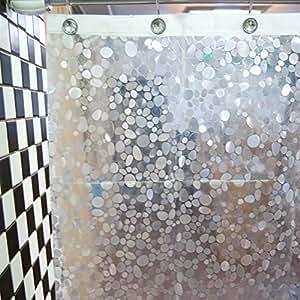 dopobo duschvorhang peva kleinen steinen mit haken extra. Black Bedroom Furniture Sets. Home Design Ideas