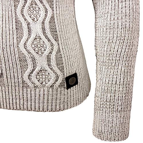 Rusty Neal Herren Grobstrick Strickpullover Zipper Pullover Sweatshirt RN-13285 Weiß