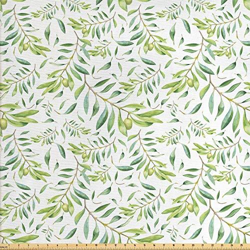 ABAKUHAUS Grünes Blatt Gewebe als Meterware, Künstlerischer Olivenbaum, Schön Gewebten Stoff für Polster und Wohnaccessoires, 1M (160x100cm), Avocadogrün Olivengrün Weiß