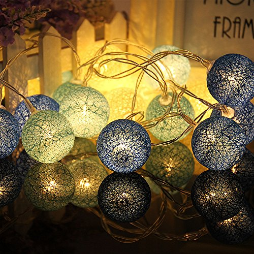 Wattebausch LED Lichterkette,Chickwin Multicolor 2.2M batteriebetriebene Warm Led Cotton Ball String Light Fairy Light für Indoor Weihnachtsbaum Dekorationen (Blauer Wattebausch)
