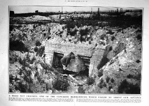 una-vecchia-stampa-di-1917-del-blocco-in-calcestruzzo-della-casa-del-granito-della-parete-soldati-te