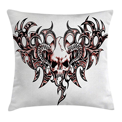 Trsdshorts Tattoo Decor Throw Pillow Cushion Cover, Combined Hearts with Skull Eagle Wings Symbol of The Brave Love Print, Decorative Square Accent Pillow Case, 18 X 18 Inches, Black White and Red