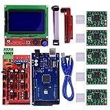 BIQU Mega2560Steuerplatine + LCD 12864Graphic-Smart-Display-Controller-Modul + Ramps 1.4Mega Shield + A4988Stepstick Schrittmotor-Treiber mit Kühlkörper für 3D-Drucker Arduino RepRap