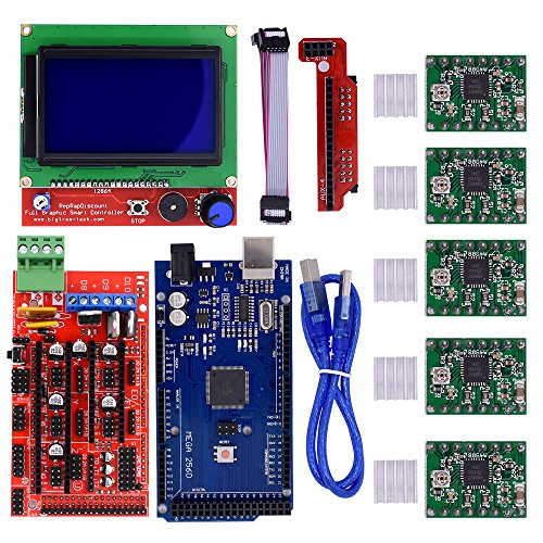 BIQU Mega2560 Steuerplatine + LCD 12864 Graphic-Smart-Display-Controller-Modul + Ramps 1.4 Mega Shield + A4988 Stepstick Schrittmotor-Treiber mit Kühlkörper für 3D-Drucker Arduino RepRap (Drucker-wechselstrom-stromversorgungs-adapter)