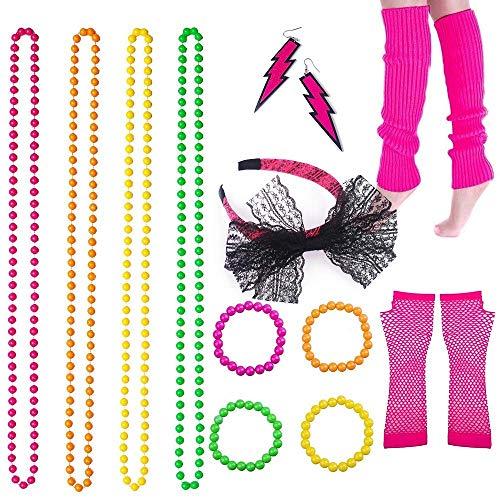 (VADOO Beinlinge Fischnetz Handschuhe Kunststoff Neon Halskette und Armbänder 80er Kleid für Frauen Night Out Party)