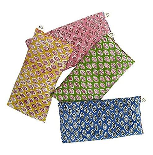 Duft Eye Kissen, (4 Stück), weiche Baumwolle 10 x 22 - Bio-Lavendel Flachs Saatgut - Hand Block Print Indien - Leaf Blau Gelb Pink Grün