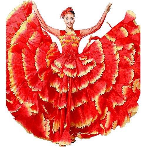 Byjia Frauen Flamenco Kleid 180 360 540 720 Degreen Blumen Doppel Ärmel Blütenblätter Rock Eröffnung Großen Modernen Tanz Chor Kostüme Red Skirt 720 (Tanz Kostüm Muster Flamenco)