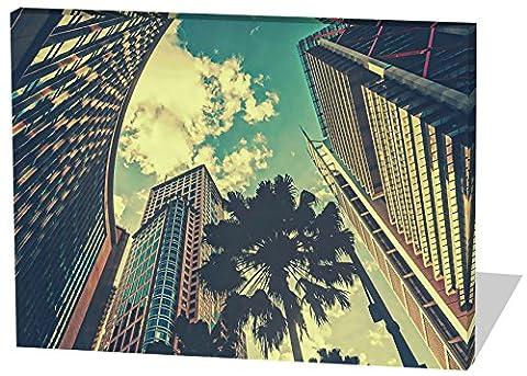 City, Gemälde Effekt, schönes und hochwertiges Leinwandbild zum Aufhängen in