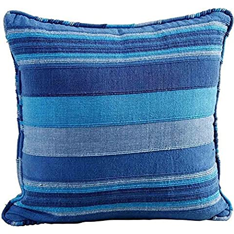 Homescapes Morocco Striped Filled Cushion 24 x 24 Inches Navy Aqua Duck Egg Blue 100% Cotton Cover and Well Filled Pad 60 x 60 cm Coordinating with Rajput Throws and Curtains Easy care Washable at