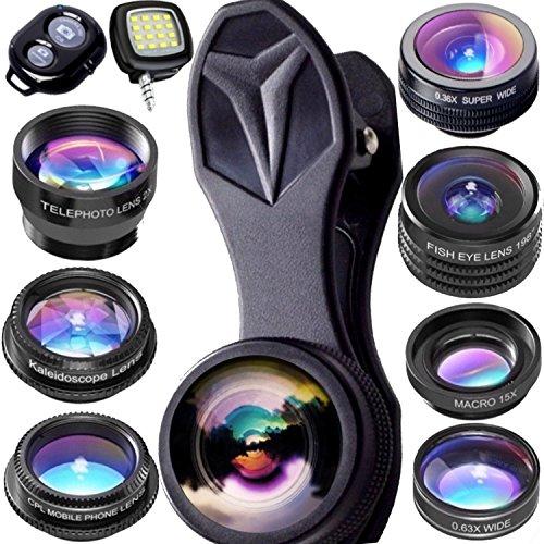 Objektiv von Horus 9 in 1 IPhone-Objektiv - iphone kamera linse - Fish Eye - Weitwinkel - Zoom für IPhone X, 8, 8 Plus, 7, 7 Plus, 6s, 6, und Objektiv für Smartphone und