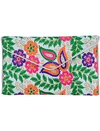 Shubhangi Women's Sling Bag (Jaipuri Embridered Handicraft Traditional Sling Bag,Multi-Coloured, R32024 Ivory)