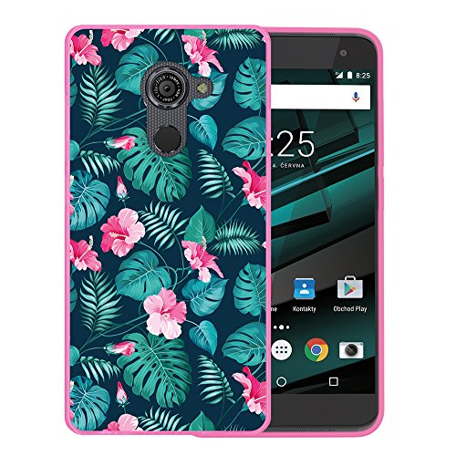 WoowCase Vodafone Smart Platinum 7 Hülle, Handyhülle Silikon für [ Vodafone Smart Platinum 7 ] Tropische Blumen 2 Handytasche Handy Cover Case Schutzhülle Flexible TPU - Rosa