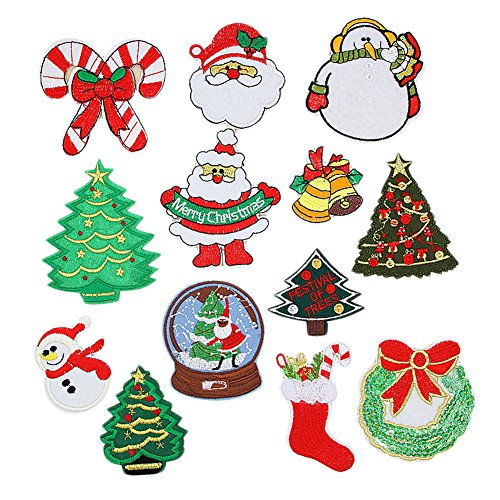 13 X Toruiwa Patches zum Aufbügeln Weihnachten DIY Aufnäher Stickerei Patch Sticker Applique Badge Heimtextilien Schneemann Santa Baum Jingle Bell Kostüm Schmücken Zufällige Farbe