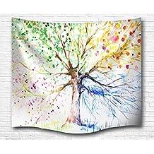 A.Monamour Colorido Dibujo Árbol Cuatro Estaciones Estampado Imprima Naturaleza Tema Pared Arte Decoración Tela Tapiz Pared Colgante Cortina Picnic Manta