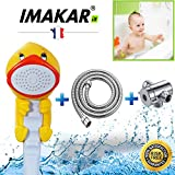 imakar® Alcachofa niño–Kit completo–con adaptador y manguera de ducha (acero inoxidable. CE–Alcachofa de ducha niños est a la mejor solución para una fácil ducha & práctica de votre niño. (pato)