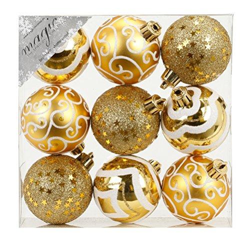 9 Stk. PVC Christbaumkugeln 6cm ( gold) // Ornament Dekor Kunststoff bruchfest Dekokugeln Weihnachtskugeln Baumkugeln Baumschmuck Set Christbaumschmuck Weihnachtsschmuck 60mm