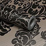 LoveFaye Black Damask Wall Decor Contact Paper Self-Adhesive Wallpaper Valentines Day Gift 45x300cm by LoveFaye
