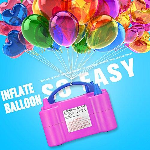 Zecti Luftballonpumpe 600 Watt Elektrische Ballonpumpe Aufblasgerät für Geburtstagsparty Hochzeitsdekoration Rosa