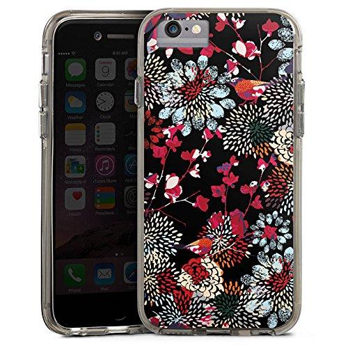 Apple iPhone 6 Bumper Hülle Bumper Case Glitzer Hülle Blumen Flowers Bunt Dunkel Bumper Case transparent grau