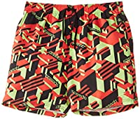 Speedo Boy's Printed Check 17 Inch Watershort Print 7 Shorts - Black/Watermelon/Hydro Green, Extra Large