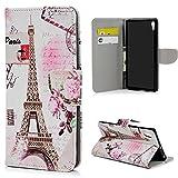 YOKIRIN Lederhülle Schutzhülle für Sony Xperia XA1 Ultra Wallet Case Brieftasche PU Leder Handyhülle Handytasche Standfunktion Bookstyle Kreditkarten Halter Magnetische Tashce Flower Tower