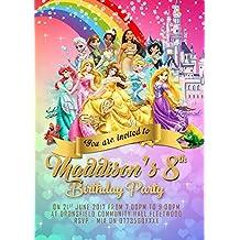 Personalizado Disney princesa fiesta de cumpleaños invitaciones, Disney princesa–Invitaciones para fiestas x 8tarjetas y libre sobres