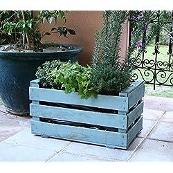 Caja de fruta antigua, jardinera de madera 50x30x27 cm VINTAGEBOX, pintada verde mint