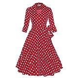 WintCO Damen Reverse Rockabilly Audrey Hepburn 1/2 Ärmel Vintage Faltenrock mit Gürtel Polka Dots Kleid Retro (L, rot mit Punkte)