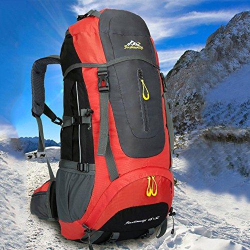 Nuosheng Outdoor alpinismo sacchetto esterno zaino da viaggio uomini e donne borsa a tracolla da viaggio equitazione su piede 65L grande capacità, Blue Red