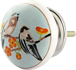 IndianShelf Handmade Multicolor Bird Ceramic Flat Cupboard Knobs/Pulls-2 Pieces(KID-145)