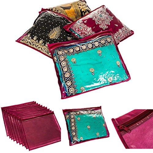 FiNeWaY@ 20 x CLEAR SAREE CLOTHES GARMENT SARI STORAGE BAGS WARDROBE ORGANISER MAROON -