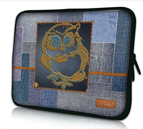 Luxburg® Design Laptoptasche Notebooktasche Sleeve für 15,6 Zoll (auch in 10,2 Zoll | 12,1 Zoll | 13,3 Zoll | 14,2 Zoll | 15,6 Zoll | 17,3 Zoll) , Motiv: Denim Eule