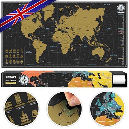 #benehacks® Weltkarte zum Rubbeln in ENGLISCH - Rubbelweltkarte - Landkarte zum Freirubbeln (Farbe Gold/Schwarz, 84 x 44 cm) -