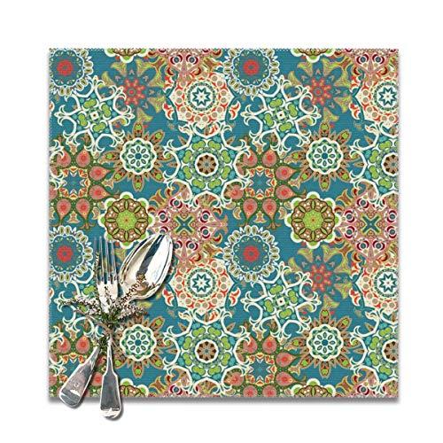 Rterss Mandala - Juego de manteles Individuales Lavables, Suaves y sin Arrugas, diseño étnico, sin Costuras, 12 x 12 Pulgadas (6 Unidades)