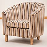 Sofa Collection Brand New Amboise Striped Tub Chair/Armchair Seating, Fabric, Brown, 70 x 76 x 73 cm