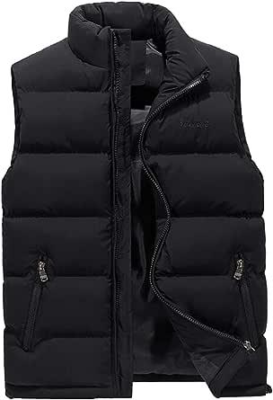 WIEAYUMEI Mens Gelits Down Warm Quilted Vest Sleeveless Padded Jacket Coat OutwearZip Pockets Body Warmers