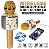 Brobeat Ws-858S Karaoke Mic Wireless, Handheld Singing Machine Condenser Microphones Mic And Bluetooth Speaker (Assorted Colour)