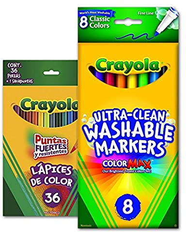 Crayola Ultra-Clean Washable Markers 8-Pack Fine Line Classic Colors + Long Colored Pencils 36-Pack - Non-Toxic - Coloring Bundle Pack