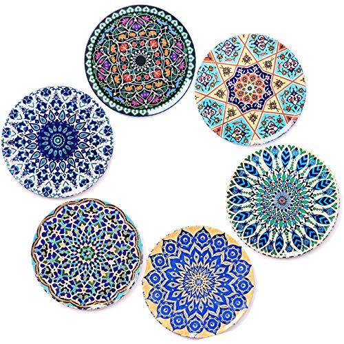Bohoria® premium design sottobicchieri (set di 6) - protezione per qualsiasi tipo di tavolo (legno, marmo vetro) per tazze, vasi, candele (rotondo i 9 centimeter) (edizione boho)