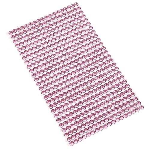 Movoja Strasssteine runde Glitzersteine 468 Stück Ø 5 mm selbstklebend zum Verzieren und Basteln Schmucksteine zum aufkleben | Strass Glitzer | Aufkleber Dekosteine Bastelsteine rosa/pink / Magenta