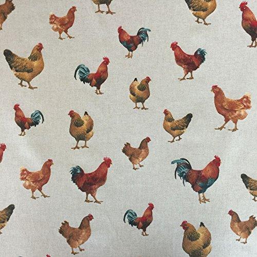 Stoff in Leinen-Optik mit Hühner-Design, 140cm breit, Meterware, für Vorhänge, Jalousien, Handarbeit, Polster