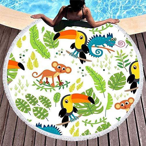 Vanzelu Tropisches Strandtuch Mit Sonnenschutz, Mikrofaser Mit Quastenmuster, Cartoon-Kindermodelle