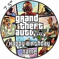 """Gta V Grand Theft Auto inspirado comestible decoración para tarta para glaseado troquelada–personalizar en la sección de (revisar su orden) """"añadir opciones de regalo"""", 1. Round 7.5inch"""