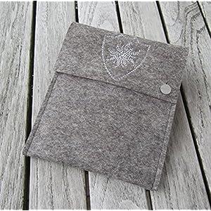 zigbaxx Tablet Hülle EDELWESS Case Sleeve Filz u.a. für iPad Air, iPad Air 2, iPad 9.7, iPad Pro 9,7, iPad Pro 10,5 / iPad mini 2/3/4 – 100% Wollfilz pink schwarz beige grau braun Geschenk Weihnachten
