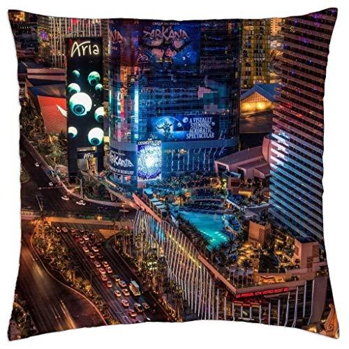 GONIESA The Vegas Strip HDR - Throw Pillow Cover Case 12x12 Inch/30cmx30cm