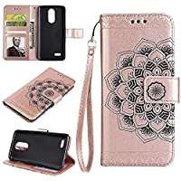 K4 2017 Wallet Case, EST-EU Retro Mandala Embossing PU Leather Stand Function Protective Covers with Card Slot Holder Wallet Book Case for LG K4 2017, Rose Gold