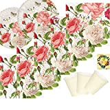 Vintage Rose edel Blumenmuster Partyset 40 Teile für 10 Personen Teller Becher Servietten