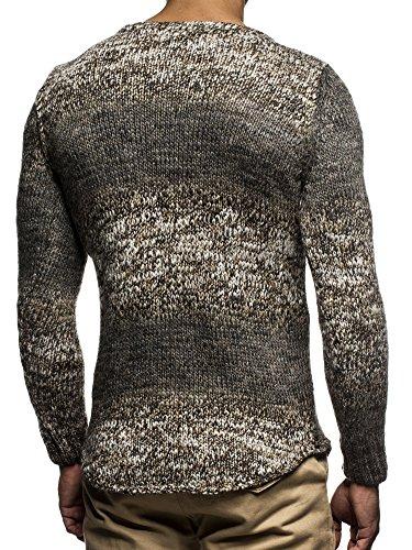 LEIF NELSON Herren Strickpullover Pullover Sweatshirt LN20717 Braun