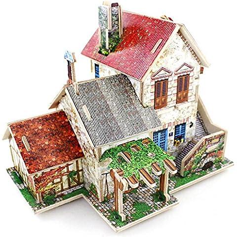 DEHANG 3D Puzzle Rompecabezas de madera Modelo de Arquitectura - Granja Francés - Regalos para niños